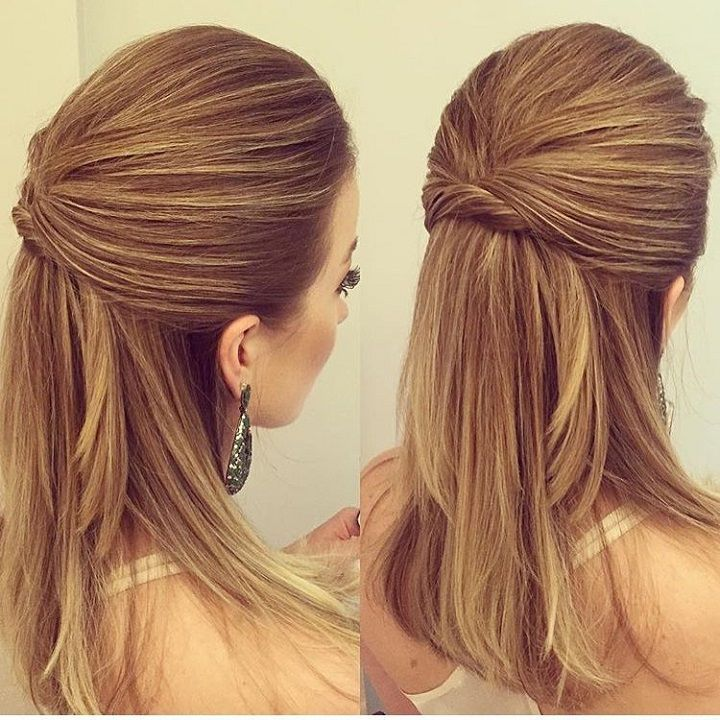 Half Up Half Down Hairstyle Straight Wedding Hair Mother Of The Bride Hair Medium Hair Styles