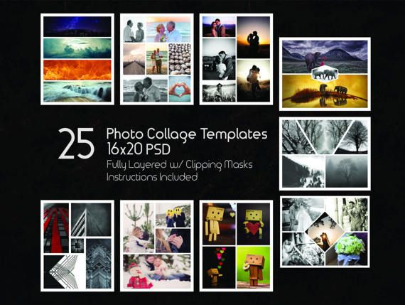 16x20 photo collage templates pack  25 psd templates  photoshop collage templates  scrapbook