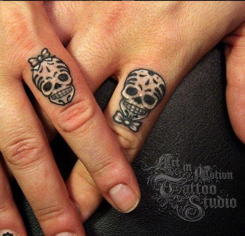 13baf31e6 Skull Ring Finger Wedding Tattoos | awesomeness | Couple tattoos ...