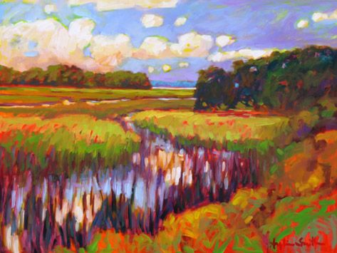 """Betty Anglin Smith- _River's Point II"""" Like this artist's use of color. Click thru her other paintings on her website."""