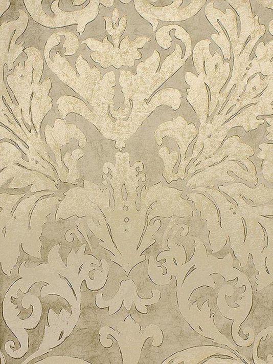 Tivoli Damask Wallpaper Gold drawn damask design wallpaper on pale sand. - Taupe