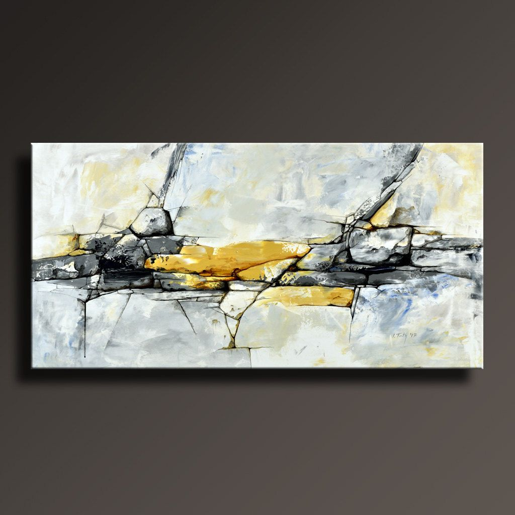 ORIGINAL ABSTRACT Painting Black White Yellow Gray Blue Contemporary ...