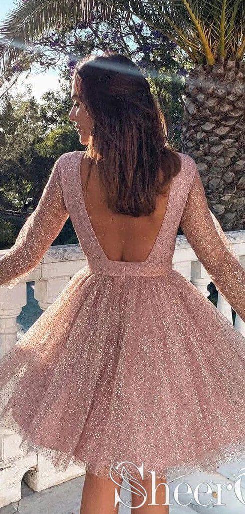 Long Sleeve Short Homecoming Dresses Backless Formal Dress ARD2372 #shortbacklessdress
