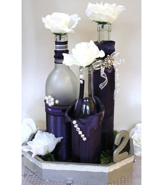 Set 3 decorated wine bottle centerpiece lapis deep for Wedding table decorations with wine bottles