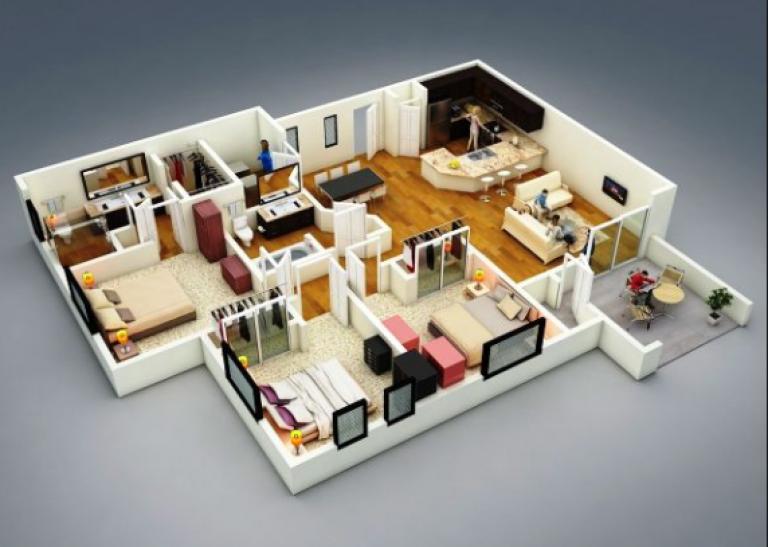 20 Gambar Denah Rumah Ukuran 8x10 3 Kamar Tidur Denah Rumah Tiga Kamar Tidur Tata Letak Rumah Denah Rumah