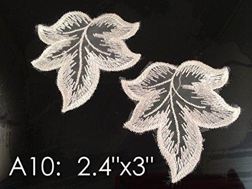 A10 Wholesale Lace ,Lace Appliques,white.wedding Applique, ONE Pair Lace Appliques, Embroidered Appliques A10