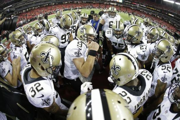 In The Huddle New Orleans Saints Quarterback Drew Brees