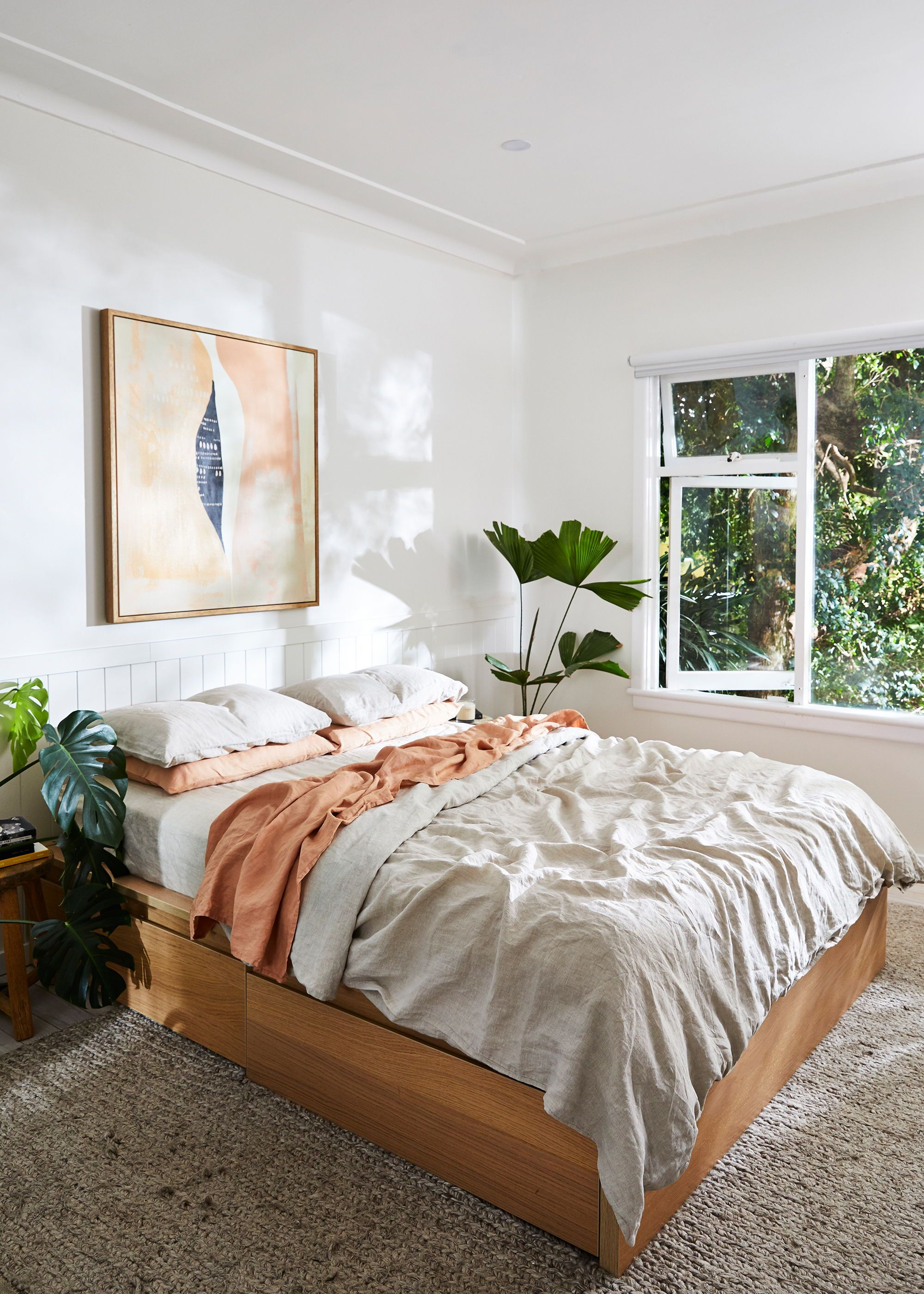 Neutral Coloured Bedroom With Plants