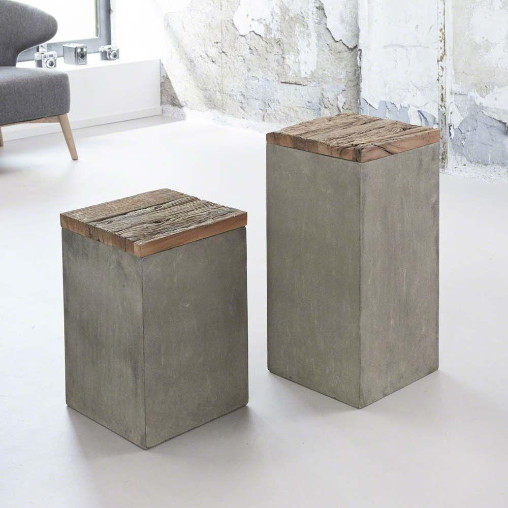 Blumens ule aus recyclingholz beton 2 teilig jetzt for Wohnzimmertisch bestellen