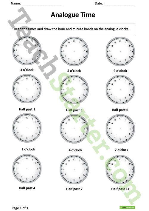 Telling Time Worksheets 1st Grade