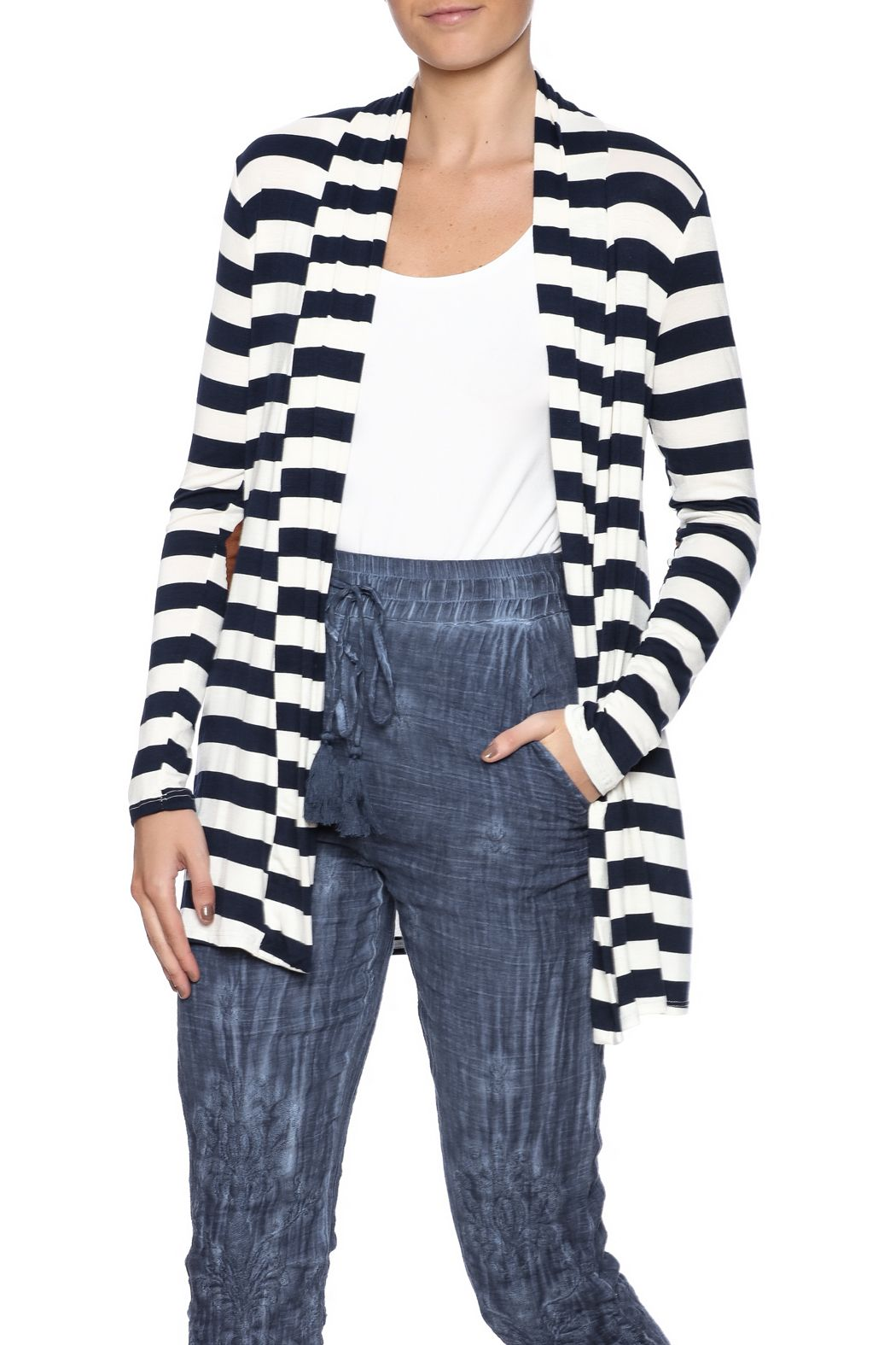 Reborn J Striped Cardigan | Striped cardigan and Stripe print
