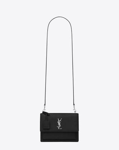 SAINT LAURENT MEDIUM SUNSET MONOGRAM SAINT LAURENT SATCHEL IN BLACK GRAINED  LEATHER.  saintlaurent  bags  shoulder bags  hand bags  leather  satchel   498322c08ed82