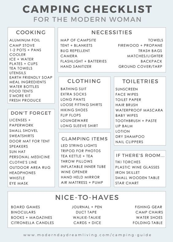 A Modern Camping Guide  Printable Checklist  Camping And Camping