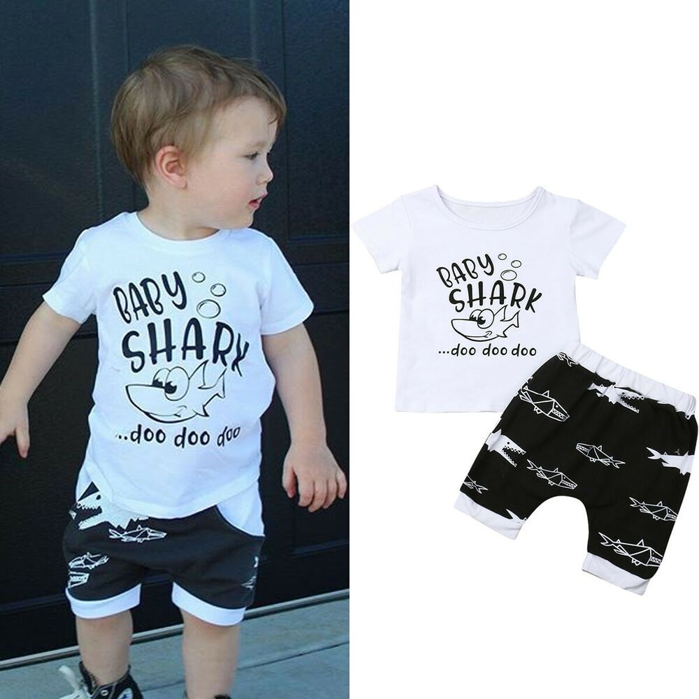 Toddler Baby Boys Shark Outfit T-shirt Tops+Shorts Pants Summer Casual Clothes