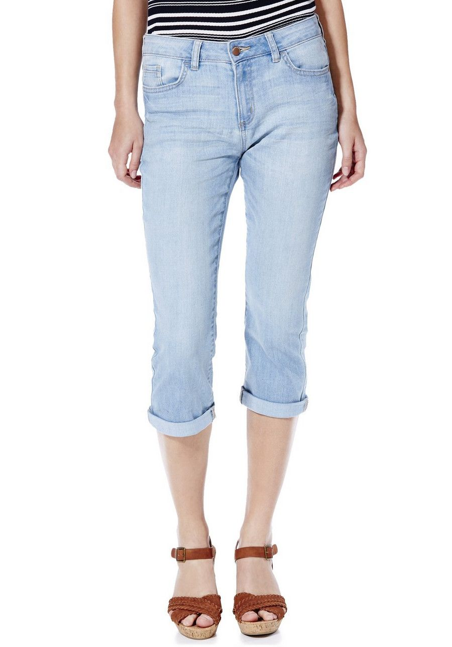 7e944d7769 Clothing at Tesco | F&F Authentic Light Wash Turn-Up Cropped Jeans > jeans  > Women's Jeans > Women
