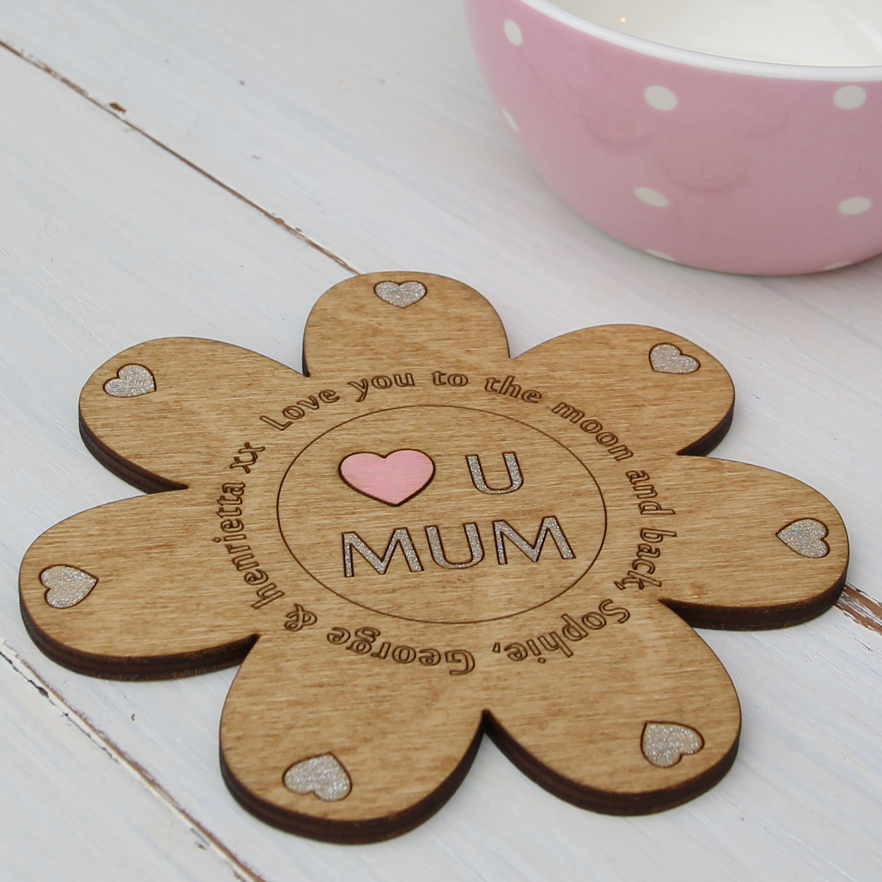'Love You Mum' Personalised Flower Coaster