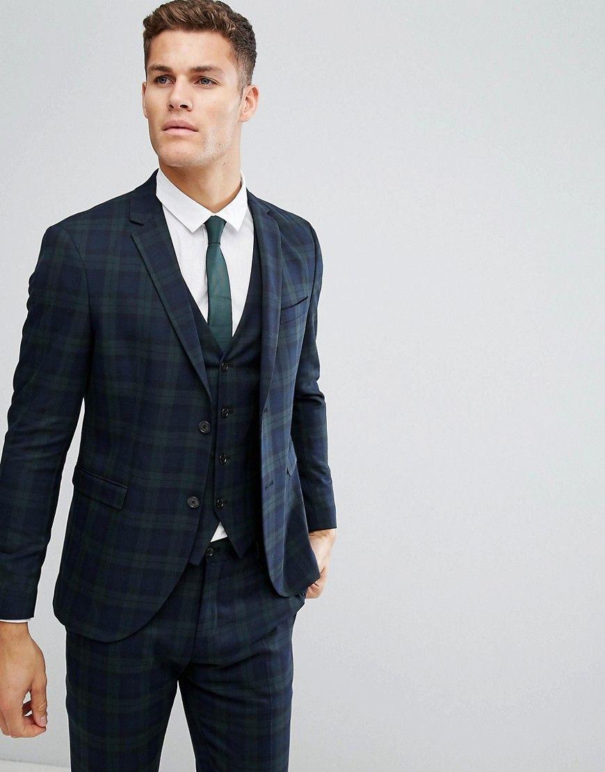 c7097d4b9 Jack & Jones Premium Skinny Suit Jacket In Blackwatch Check - Green ...