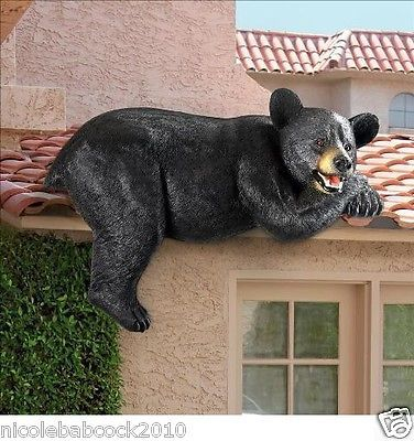 Wildlife Black Bear Sculpture Outdoor Fence Rooftop Garden In Home Decor 17 Lbs