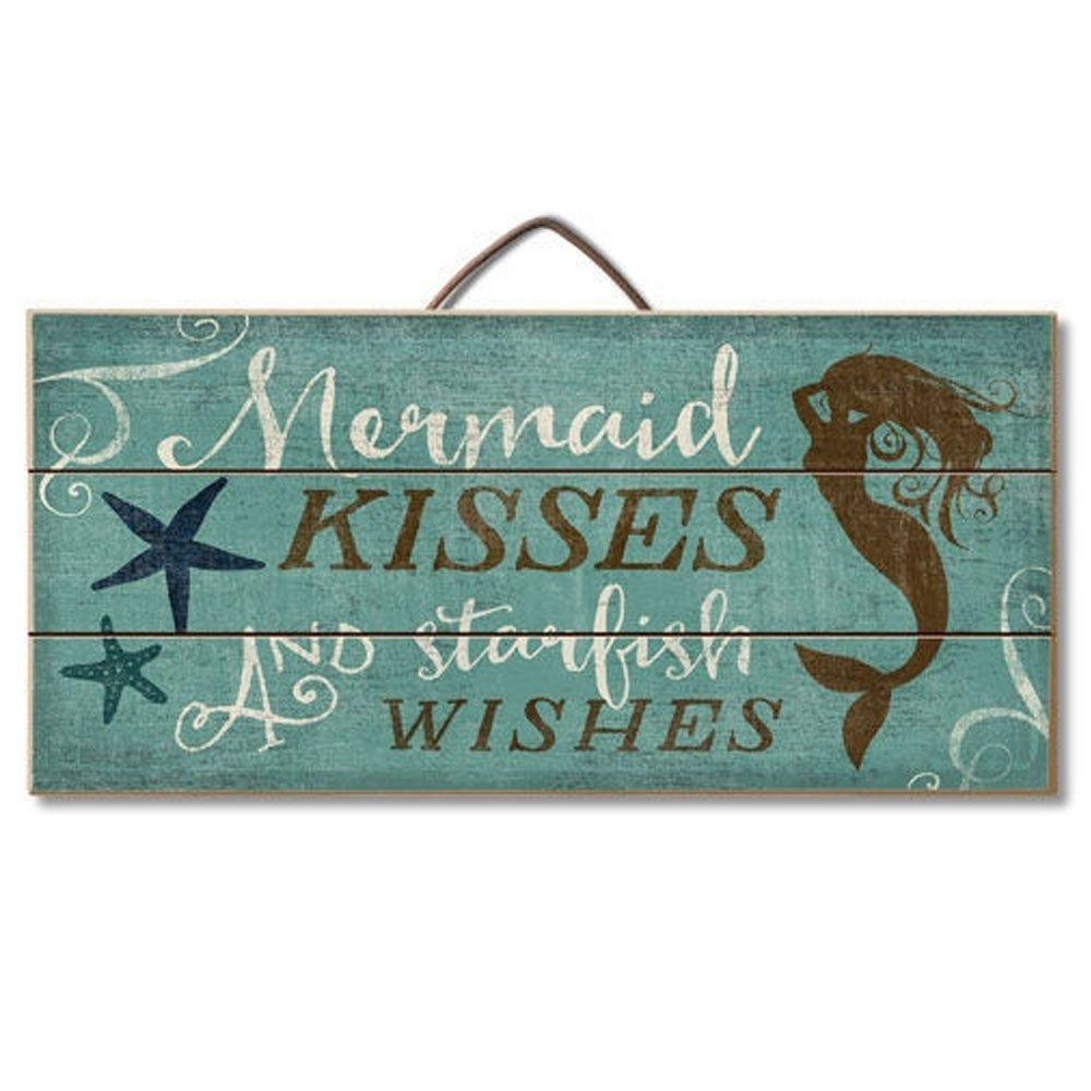 Mermaid Kisses and Starfish Wishes Wood Wall Sign 12 x 6 x 0.5 - Green #mermaidbathroomdecor
