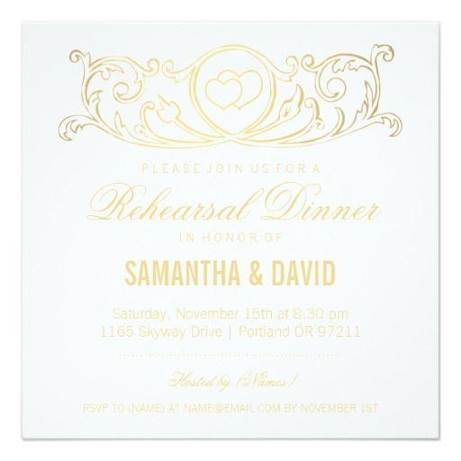 Rehearsal Dinner Vintage Heart Swirls Gold Custom Announcements