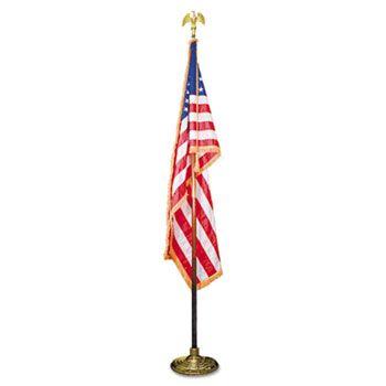 Indoor 3 X 5 U S Flag 8 Ft Oak Staff 2 Gold Fringe 7 Goldtone Eagle Top Gold Fringe Gold Eagle Gold Tones