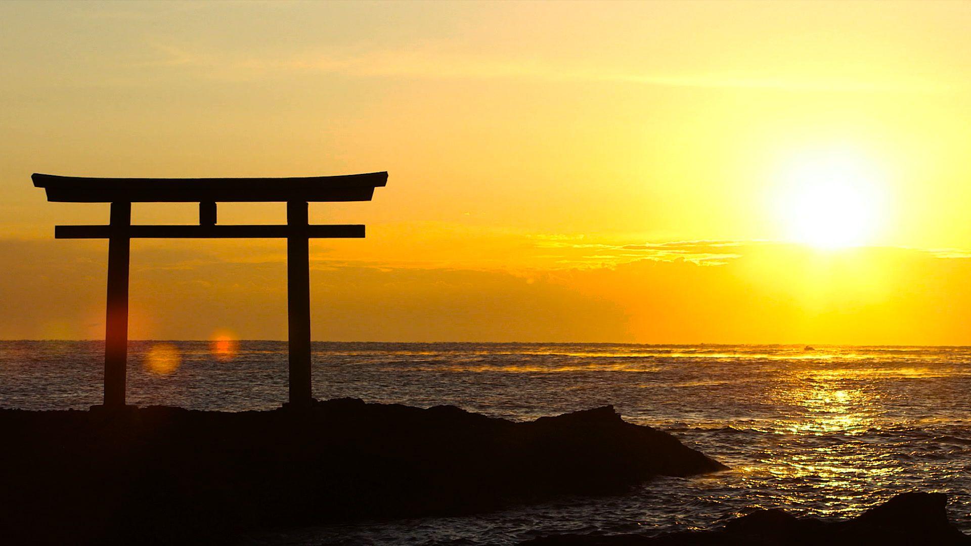 Sun and Shinto Shrine by the ocean Stock Footage #AD ,#Shrine#Shinto#Footage#Sun