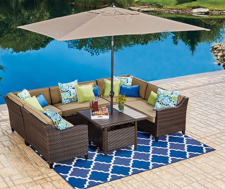 Tan Rectangular Market Patio Umbrella 9 At Big Lots Patio Umbrella Patio Outdoor Patio Decor