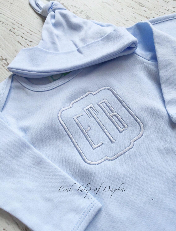 Infant boy gown, newborn gown, Baby Boy Monogrammed Infant Gown ...