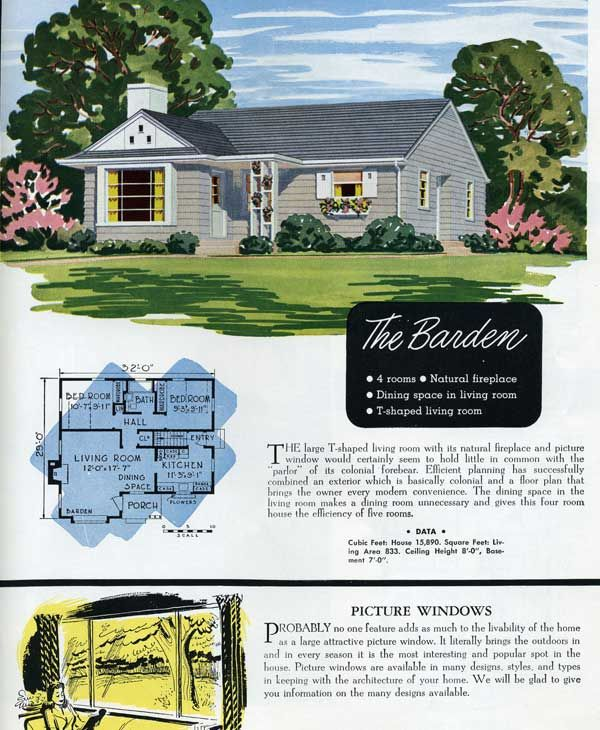 1949 national homes the barden modest mid century pinterest