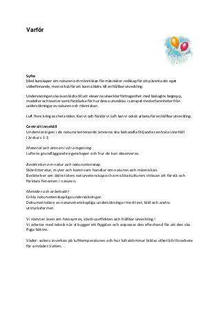 Pedagogisk planering. luft åk 1-3