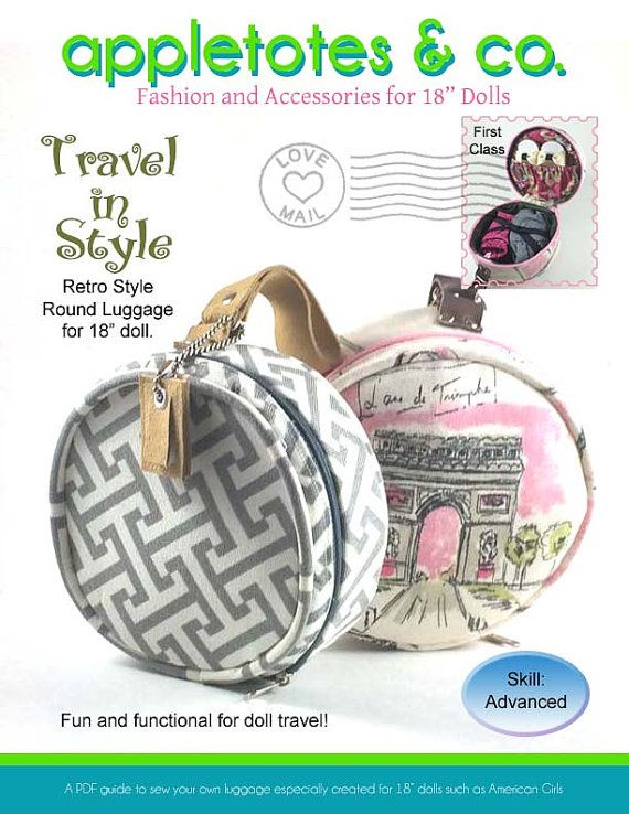 Round Luggage 60's retro for 18 inch Doll Pattern by Appletotes
