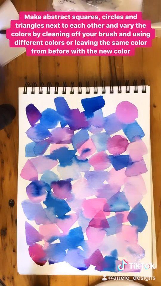 Easy watercolor tutorial for beginners.  #watercolor #watercolortutorial #abstractart #arttutorial #paintingtutorial #tutorial #geometric #art