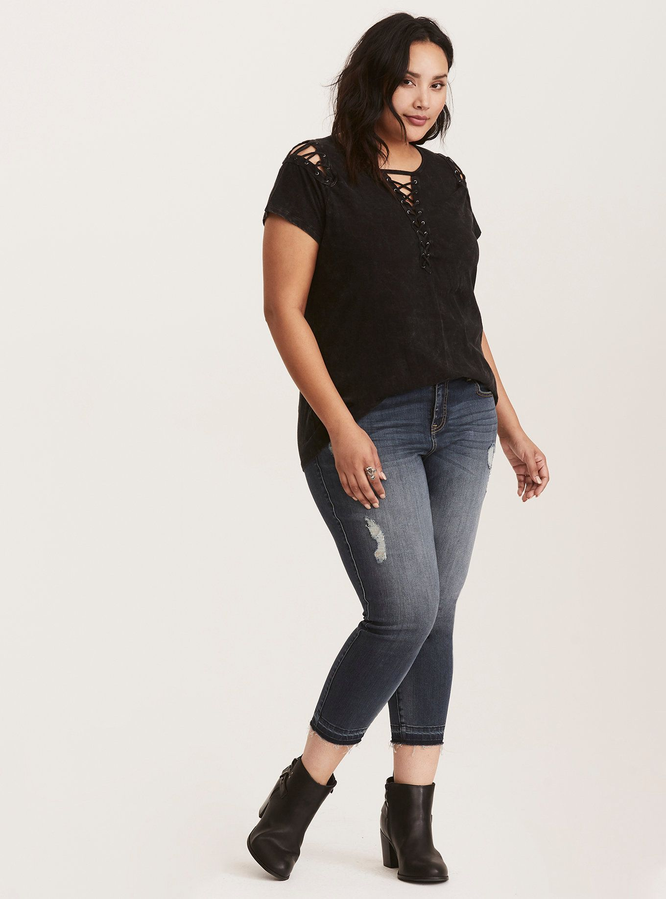 Mineral Wash Knit Lace Up Cold Shoulder Tee in Black  c07543ebd