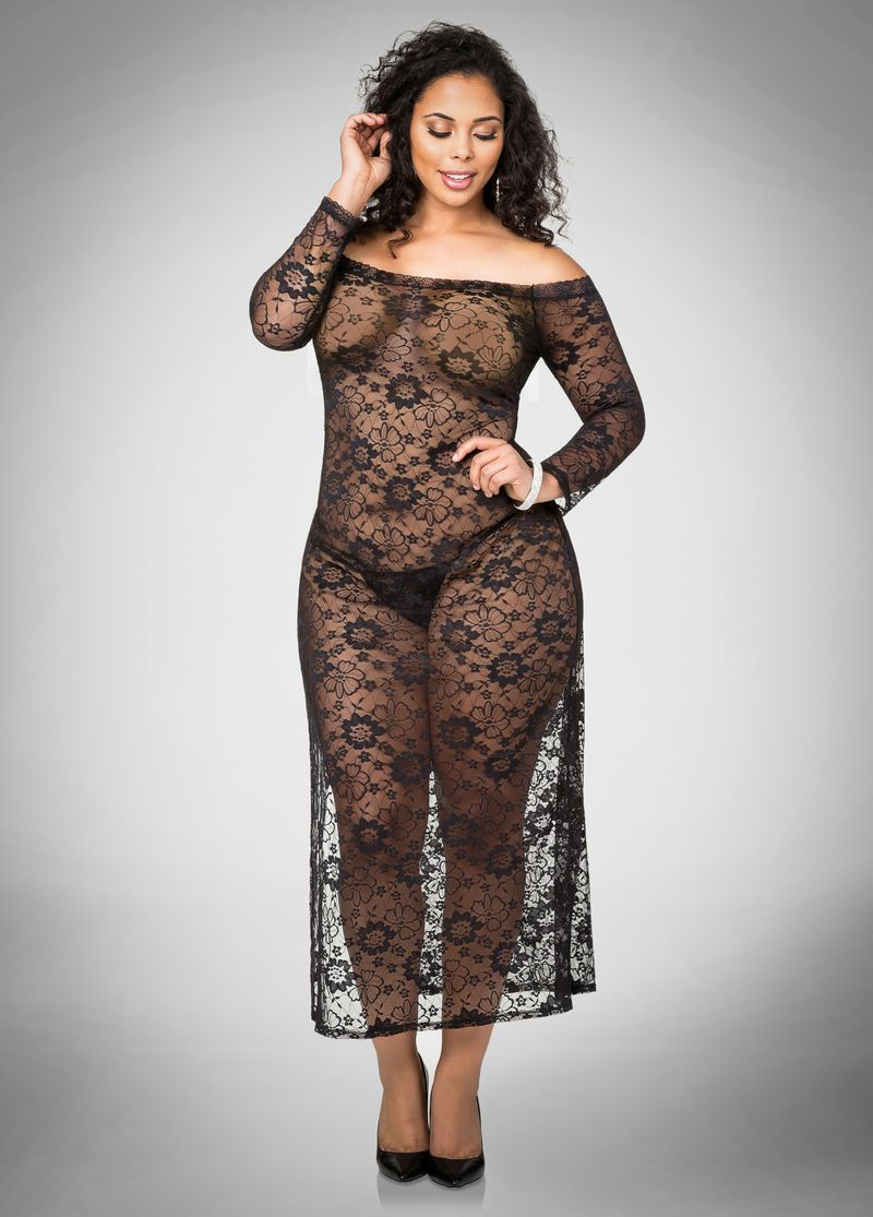 Pin By Plus Babes On Plus Model - Tabria Majors  Sheer Lingerie Models, Lace Maxi -5249