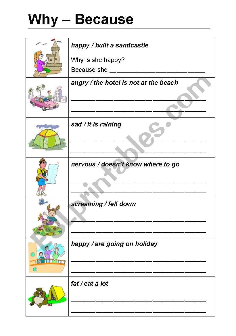 Why & because worksheet en 2020 (con imágenes) Ingles