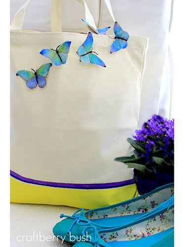 Spring Craft Projects: Butterfly bag. Start with a plain tote, mix in creativity and you've got something new #diy #gifts