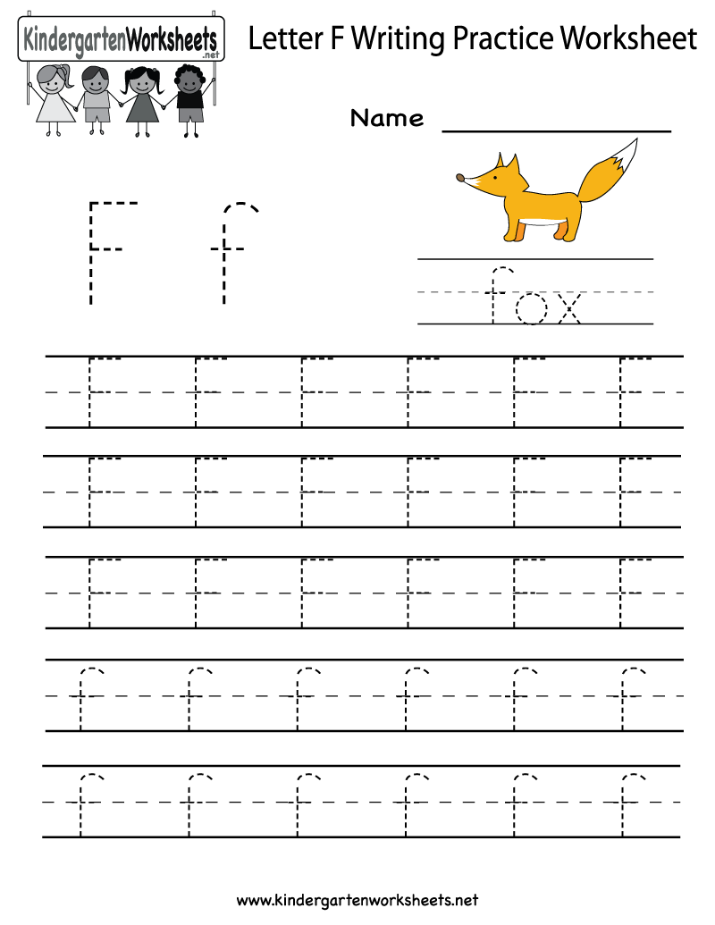{Kindergarten Letter F Writing Practice Worksheet Printable – Letter F Worksheets for Kindergarten