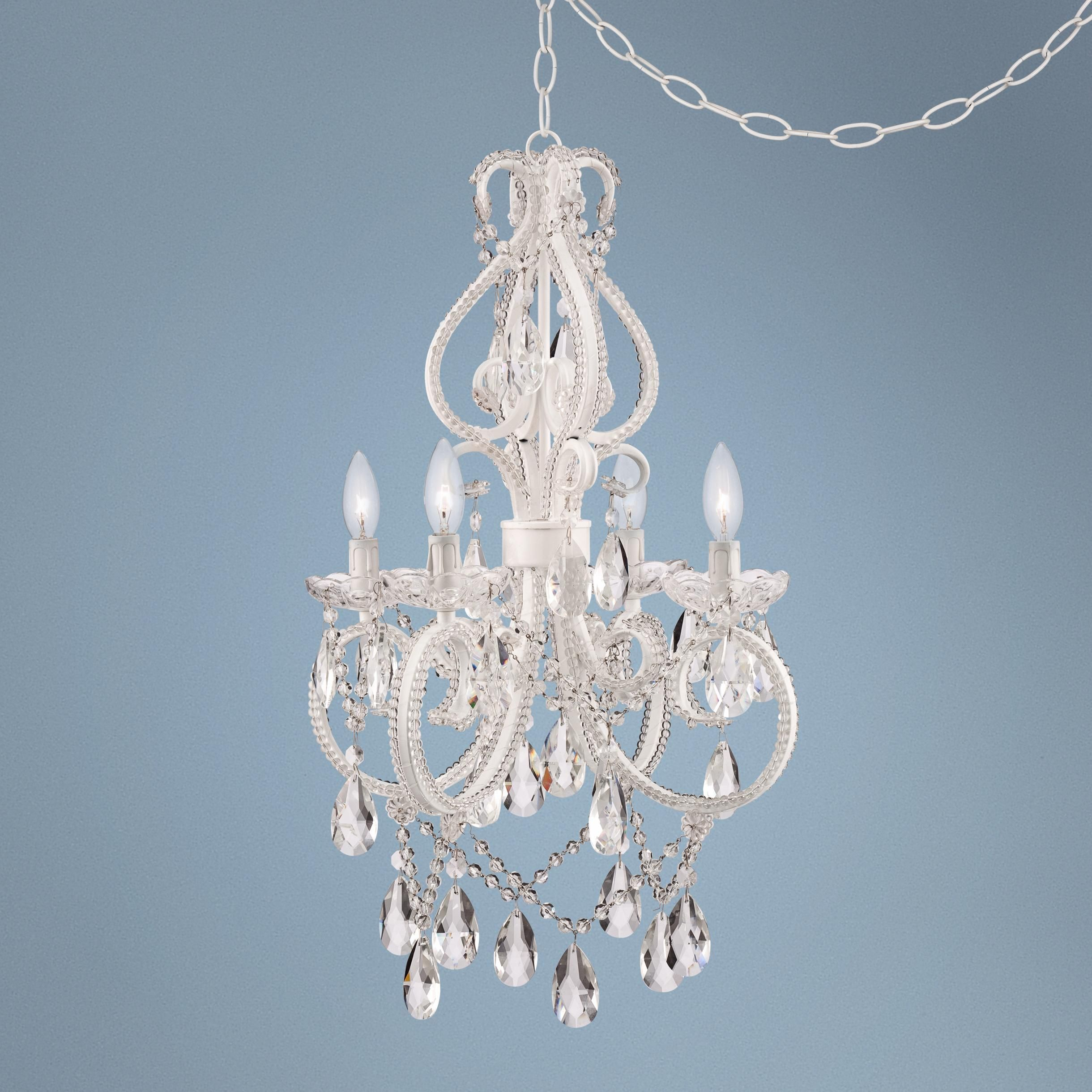 "Alderton White 16 1 2"" Wide Crystal Plug in Swag Chandelier"