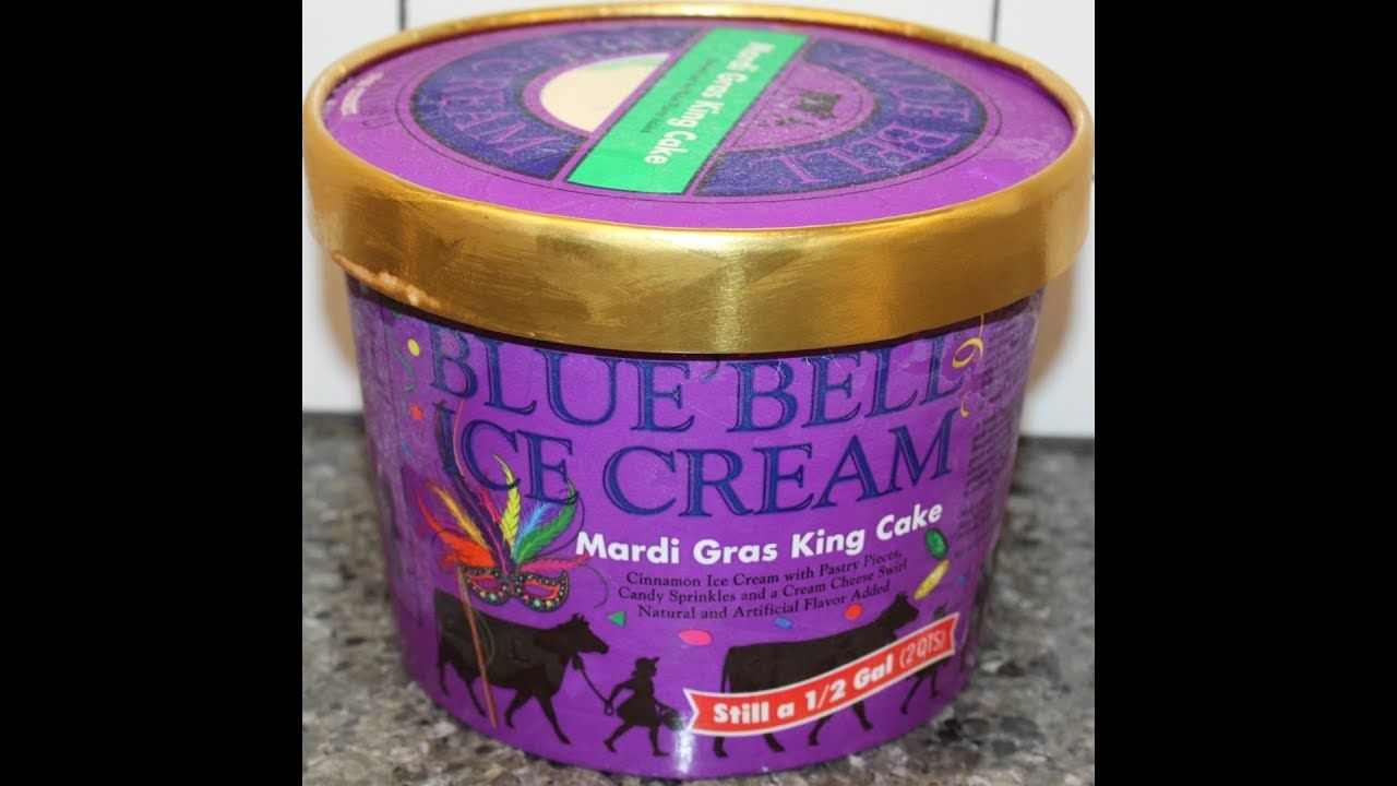 Blue bell mardi gras king cake ice cream review with