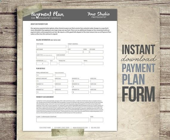 Photography Business Form - Payment Plan - Financial Contract - client information sheet template