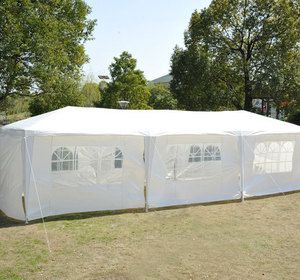 Outsunny 10 X 30 White Gazebo Party Tent Wedding Canopy W Side Walls Windows Gazebo Tent White Gazebo Party Tent