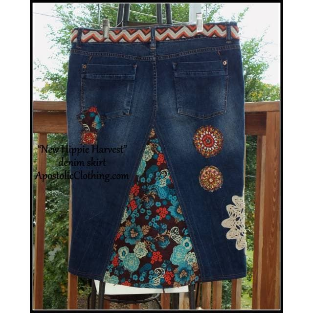New Hippie Harvest denim skirt - apostolicclothing-com