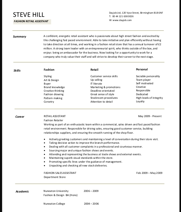 Make The Best Resume Objective For Fashion