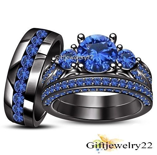 Ct Blue Shire Trio Set Black Gold Engagement Wedding Bridal Ring In Jewelry Watches Sets
