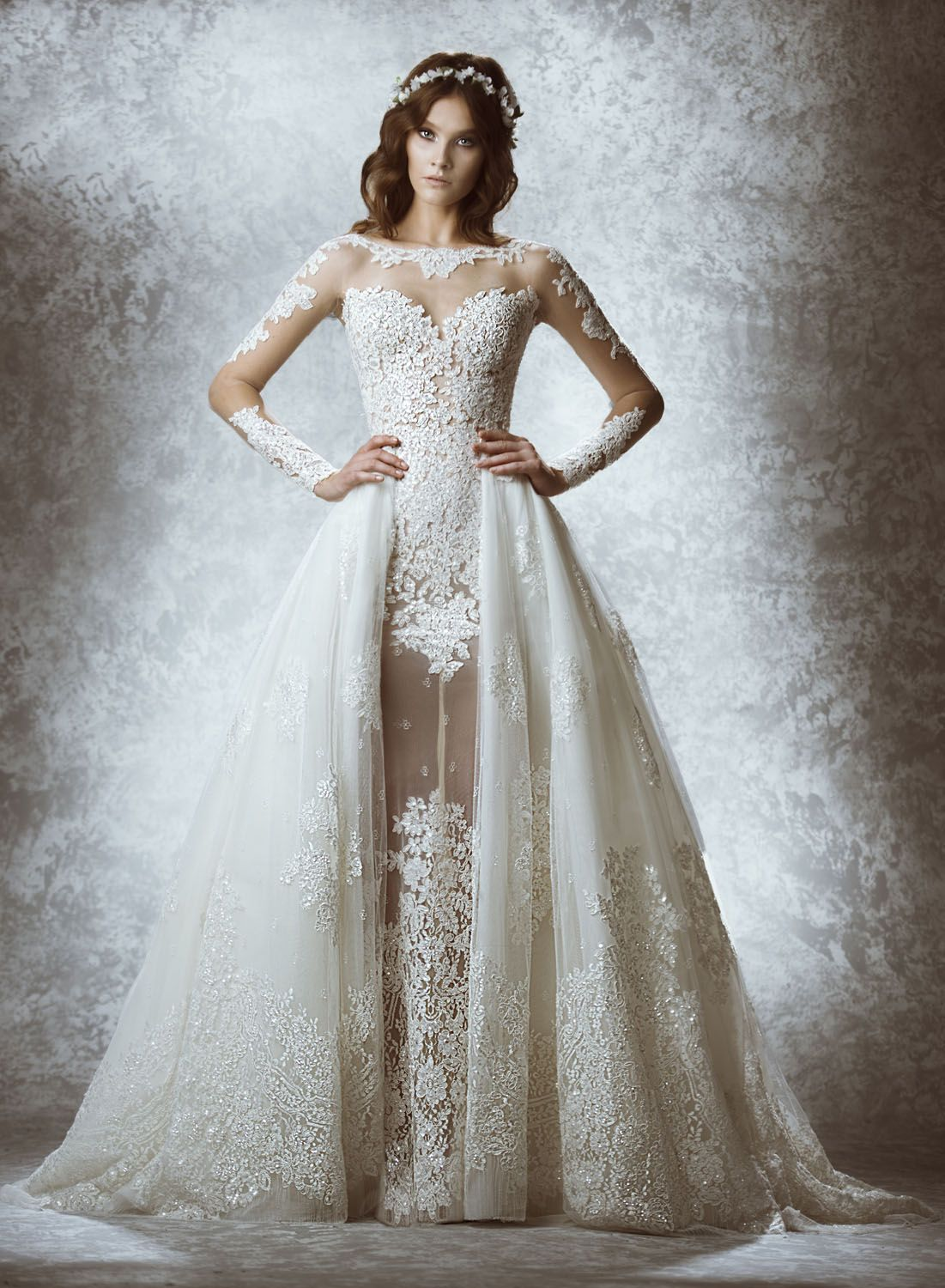 Bridal Sample Zuhair Murad Mia Delicately Sequined Lace And Sheath Long Sleeve Wedding Dresatching Overskirt That Is Removable For Two Looks