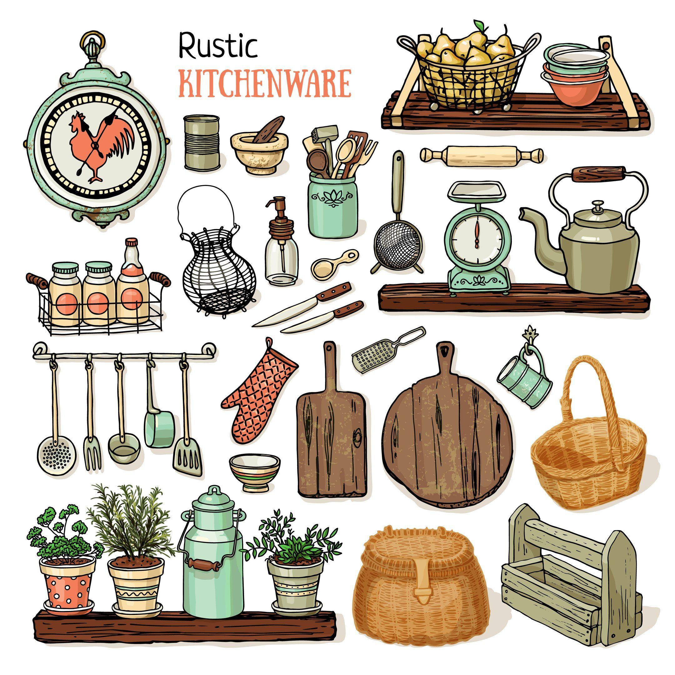 illustration, kitchen, art, printable, rustic kitchen, home, plants ...
