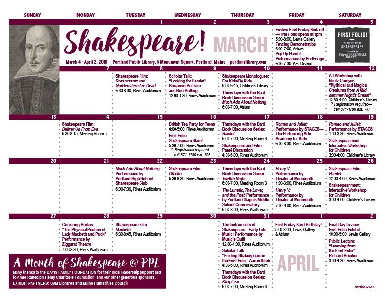 First Folio calendar of events Library Calendar Pages Pinterest - event calendar