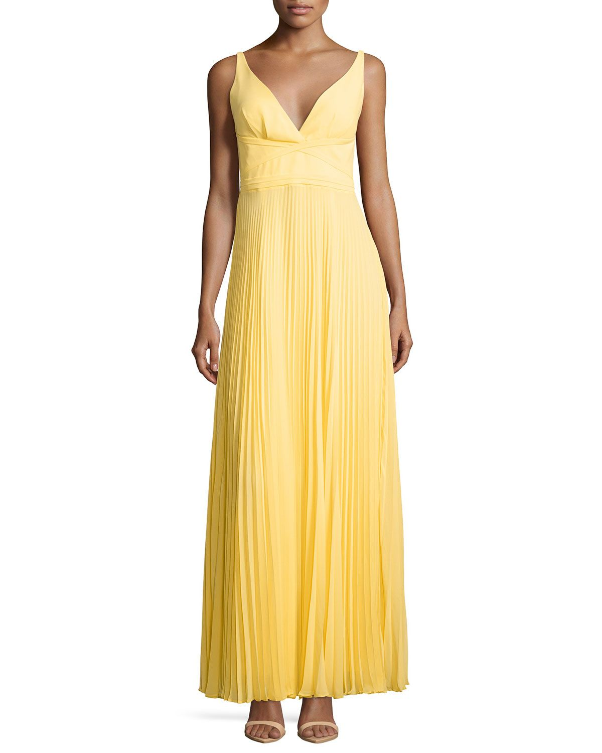 Sleeveless pleated openback gown canary yellow womenus size