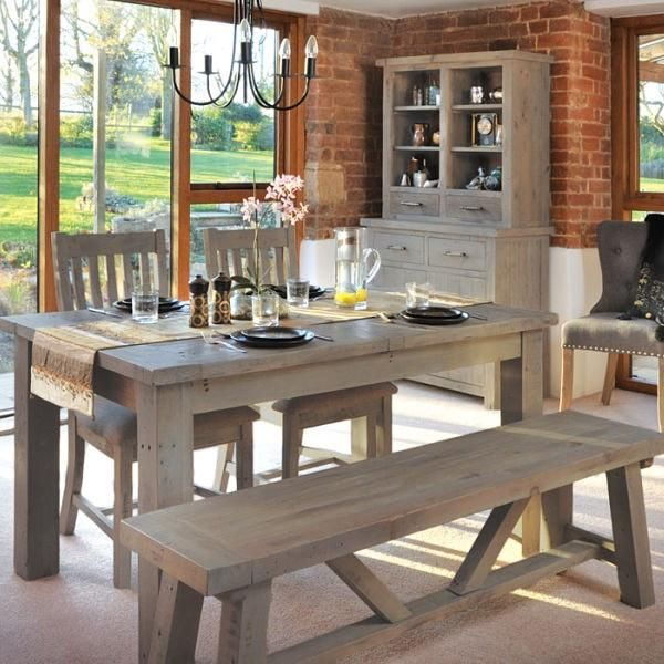 Saltash Reclaimed Wood Dining Table, Bench And Chairs Lifestyle Image