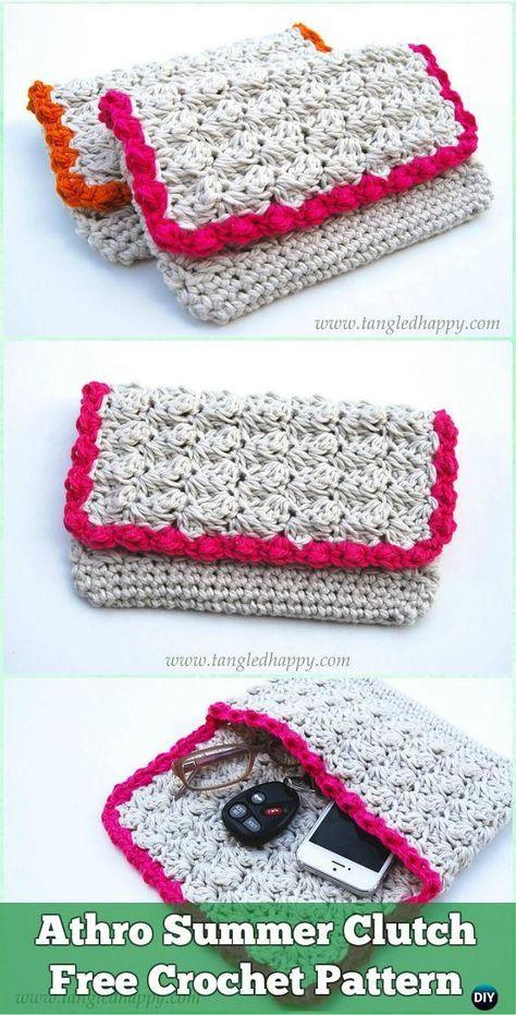 Crochet Clutch Bag & Purse Free Patterns Instructions | Bolsos